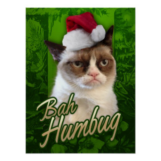 Grumpy Cat Merry Christmas / Bah Humbug Poster