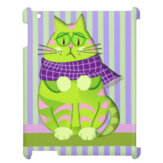 Grumpy cat on Striped background Case For The iPad
