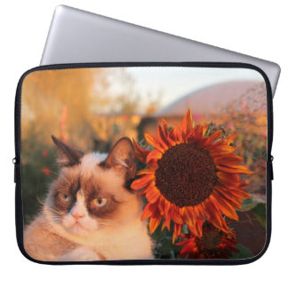 Grumpy Cat Sunflower Laptop Sleeve