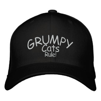 Grumpy Cats Rule Embroidered Baseball Caps
