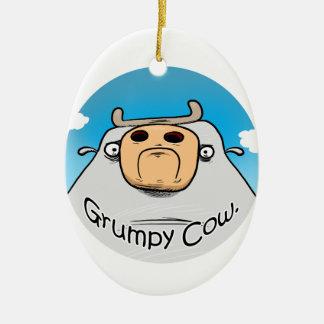 Grumpy Cow Ceramic Oval Decoration