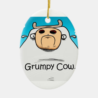 Grumpy Cow Christmas Ornament