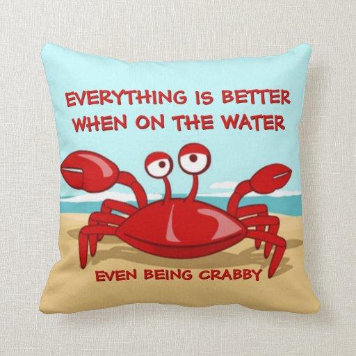 Grumpy Crab Throw Pillows