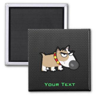 Grumpy Dog on Sleek Square Magnet