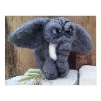 Grumpy elephant postcard