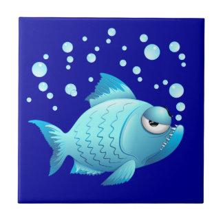 Grumpy Fish Cartoon Tile