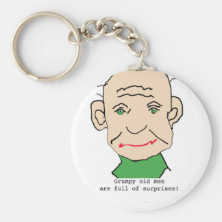 Grumpy Funny Old Man Basic Round Button Key Ring