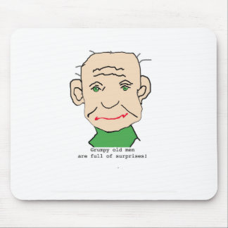 Grumpy Funny Old Man Mouse Pad