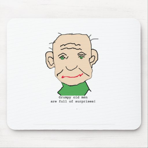 Grumpy Funny Old Man Mousepads