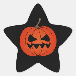 Grumpy Jack o Lantern Halloween star stickers