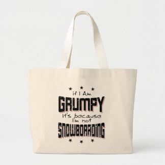 GRUMPY not SNOWBOARDING (blk) Large Tote Bag
