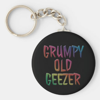 Grumpy Old Geezer Key Ring Chain Basic Round Button Key Ring