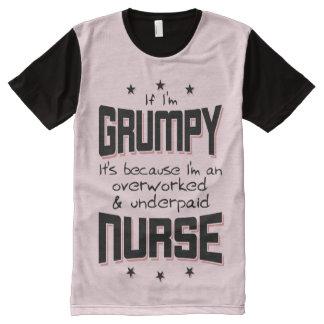 GRUMPY overworked underpaid NURSE (blk) All-Over Print T-Shirt