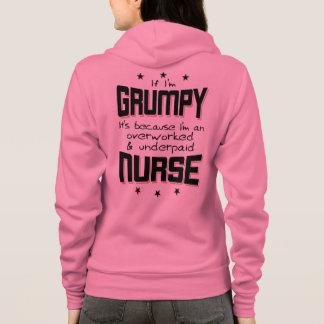 GRUMPY overworked underpaid NURSE (blk) Hoodie