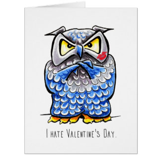 Grumpy Owl Hate Valentines Day Cards