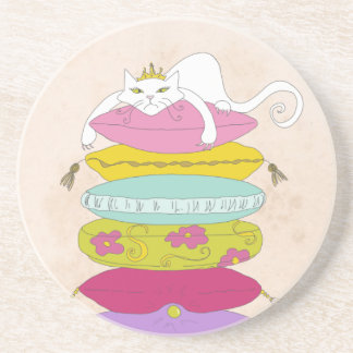 Grumpy princess cat and the pea cartoons drink coaster