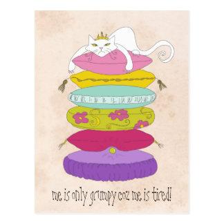 Grumpy princess cat and the pea cartoons postcard