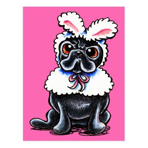 Grumpy Pug Bunny Post Card
