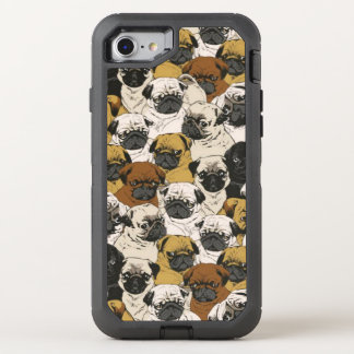Grumpy Pugs / Funny Cute Pug Dogs Puppies Pattern OtterBox Defender iPhone 7 Case