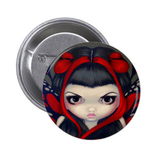 Grumpy Red Fairy Button