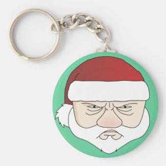 Grumpy Santa Claus Basic Round Button Key Ring