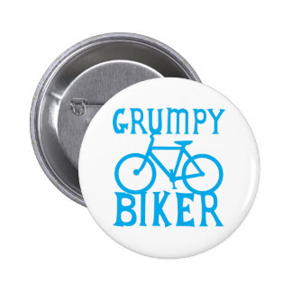 GRUMY BIKER with bicycle in blue 6 Cm Round Badge