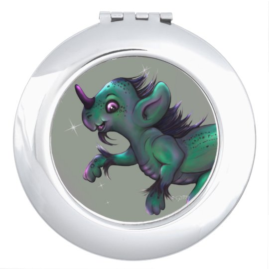 GRUNCH ALIEN CARTOON compact mirror ROUND