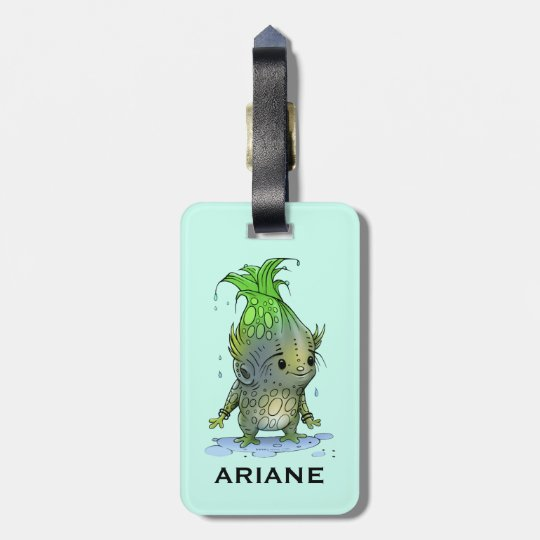 GRUNCH ALIEN CUTE LUGGAGE TAG Luggage Tag w/ leath