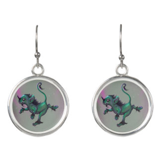 GRUNCH ALIEN MONSTER CARTOON Drop Earrings