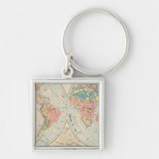 Grund u Boden - Soil Atlas Map Silver-Colored Square Key Ring
