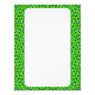 Grünes Netz Kaleidoscope/Green Kaleidoscope Net 4.25x5.5 Paper Invitation Card