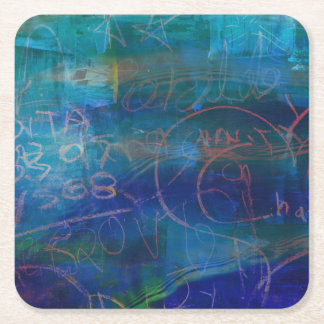 Grunge Abstract Chalkboard Blue Green Coaster