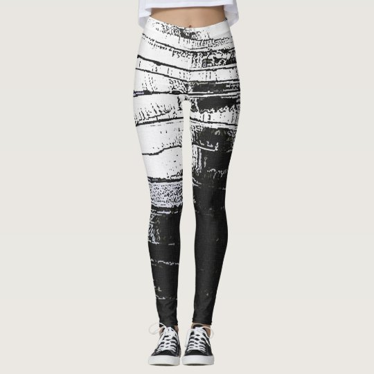 Grunge abstraction, black and white lines, stripes leggings
