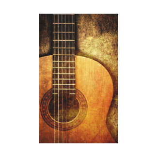 Grunge Acoustic Guitar Stretched Canvas Print