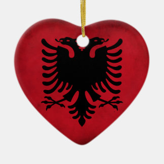 Grunge Albanian Flag [High Quality] Ceramic Heart Decoration