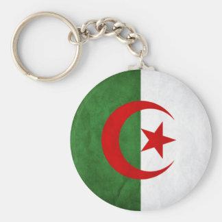 Grunge Algeria National Flag Basic Round Button Key Ring