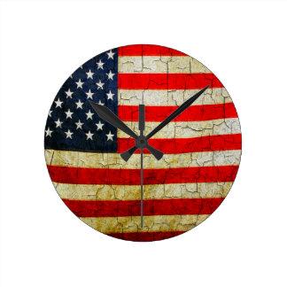 Grunge America flag Round Clock