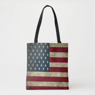 Grunge American Flag All-Over-Print Tote Bag