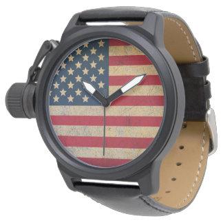 Grunge American Flag Black Leather Watch