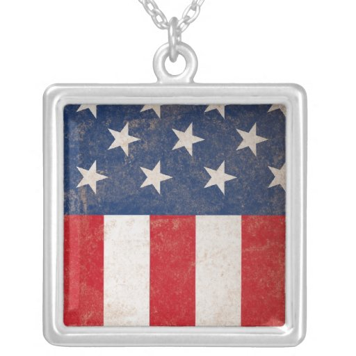 Grunge American Flag Patriotic USA Square Pendant Necklace