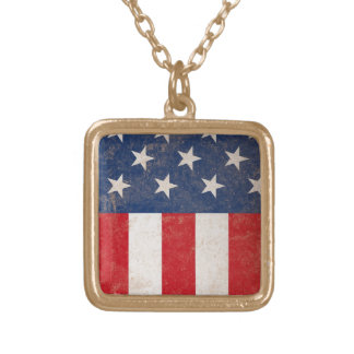 Grunge American Flag Patriotic USA Square Pendant Necklace