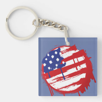 Grunge American Flag with Running Color Drips Single-Sided Square Acrylic Keychain