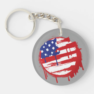Grunge American Flag with Running Color Drips Single-Sided Round Acrylic Keychain