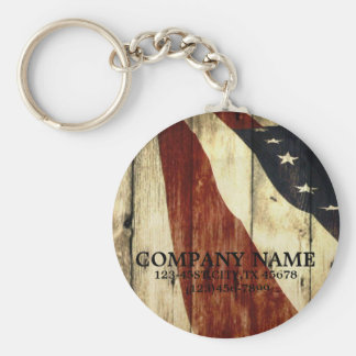 grunge american flag wood construction business basic round button key ring