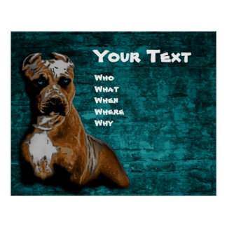 Grunge American Pitbull Terrier Portrait Poster