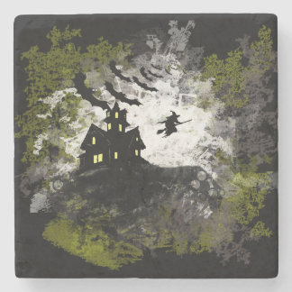 Grunge And Distressed Halloween Background Stone Coaster