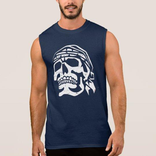 Grunge and Distressed Pirate Skull Sleeveless Shirt