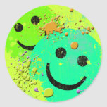 GRUNGE AND PAINT SPLATTER SMILEY'S CLASSIC ROUND STICKER
