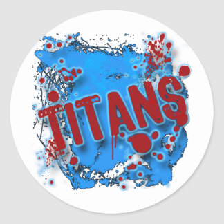 GRUNGE AND SPLATTER TITANS ROUND STICKER