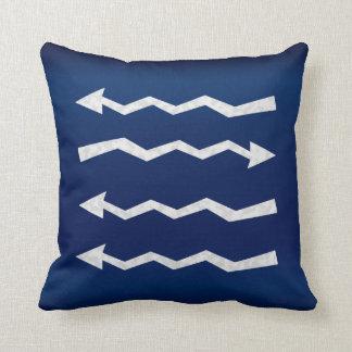 Grunge Arrow Designs on Dark Blue Cushion